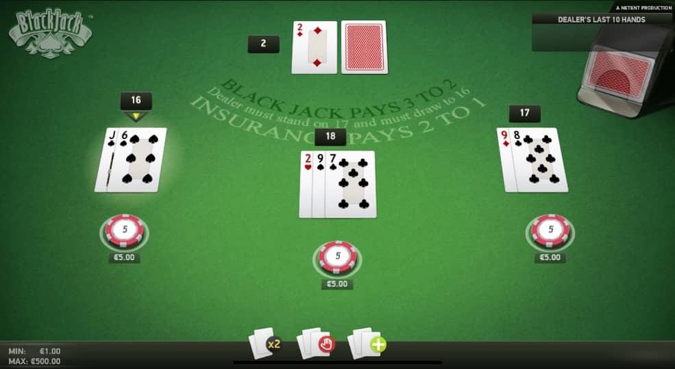Online blackjack tafel