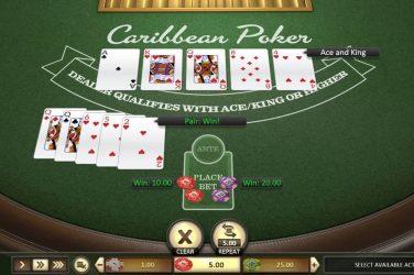 Online caribbean poker tafel