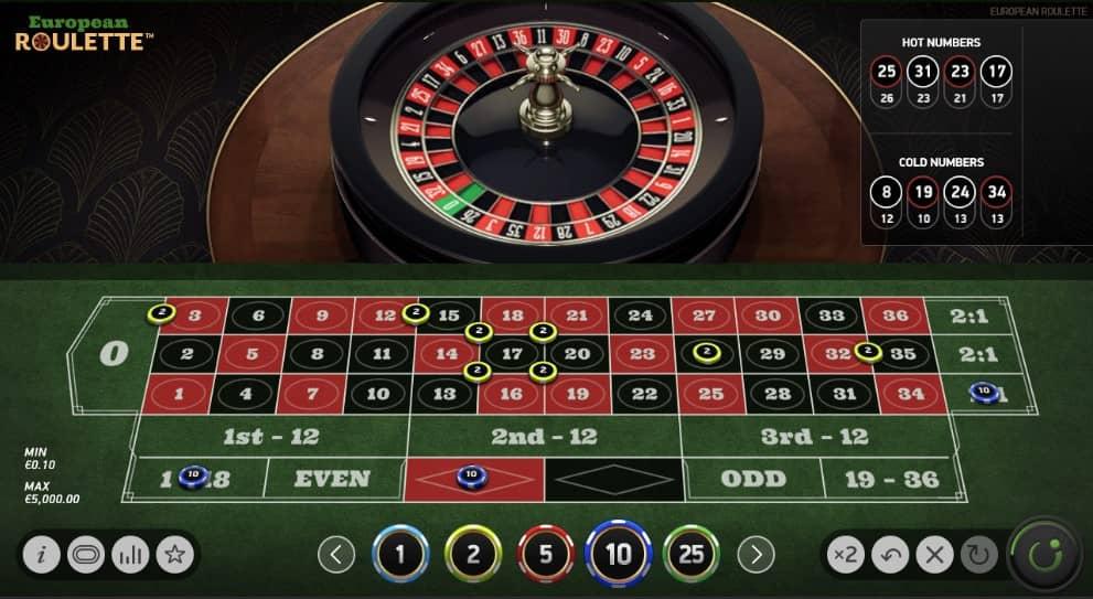 Online roulette tafel